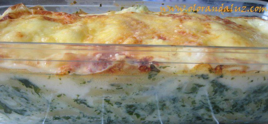 Macarrones gratinados con espinacas