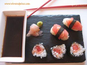 Sushi de sandía y salmón ahumado