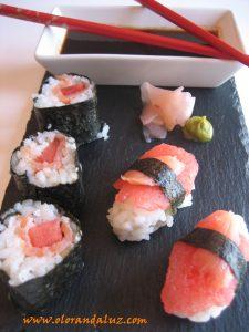 Sushi de sandia y salmón ahumado