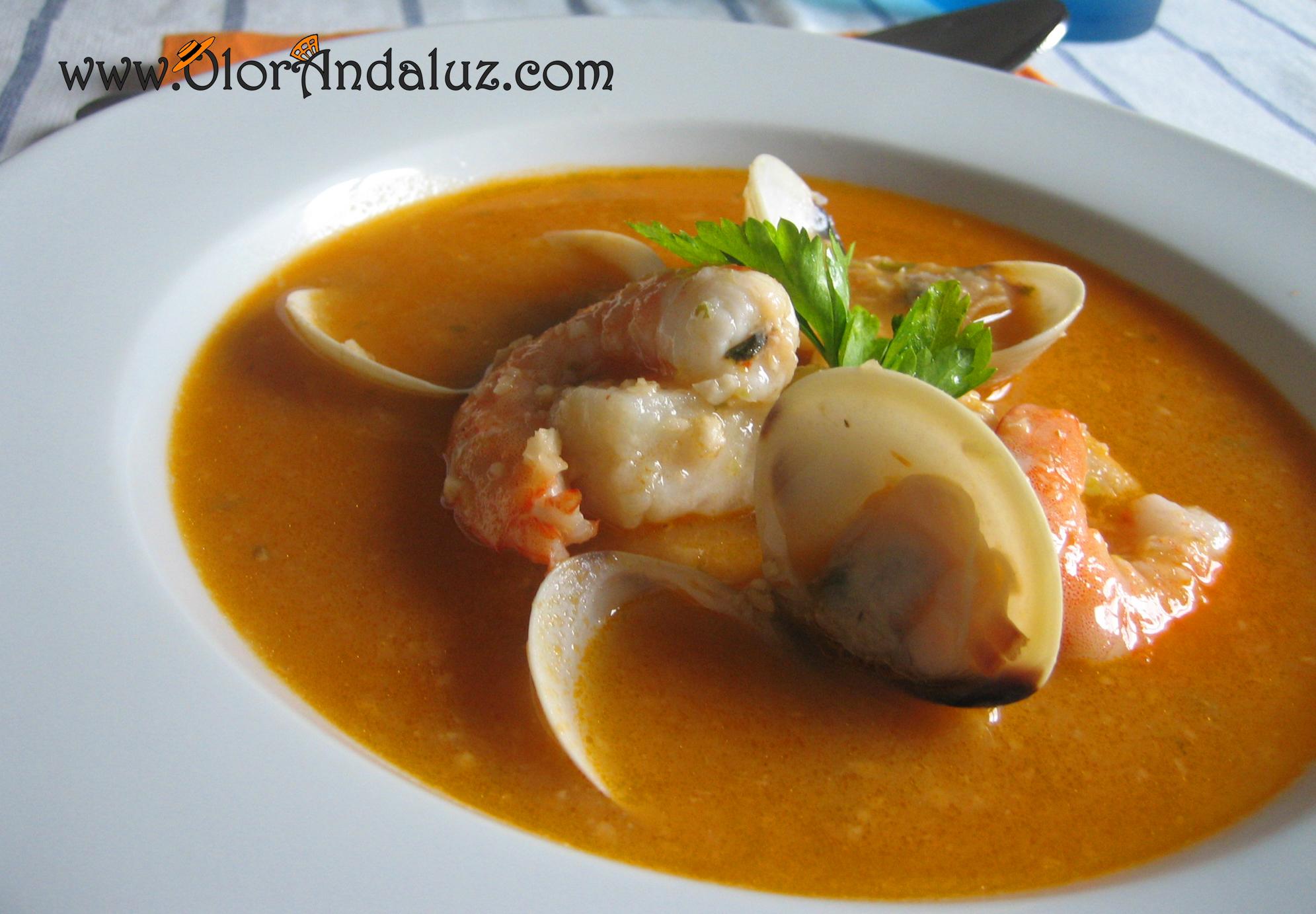 Sopa de pescado y marisco olor andaluz - Sopa de marisco y pescado ...