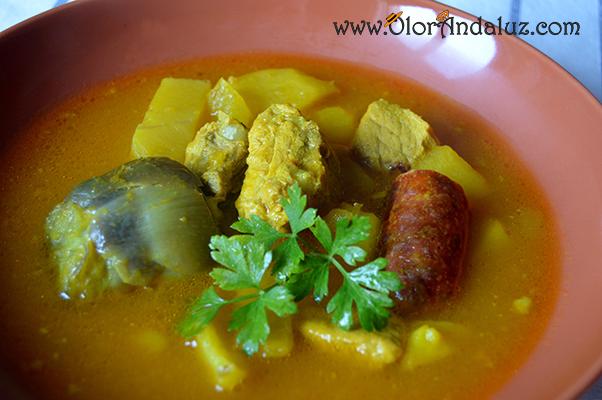 Guiso de patatas costillas alcachofas y chorizo olor andaluz - Lentejas con costillas y patatas ...