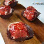 Aperitivos de Jamón Ibérico, queso crema y carne de membrillo